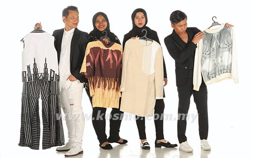 Dari kiri: Hazzerwan, Nur Sabrina, Nadia Hasmin dan Danial Arif bersama koleksi pakaian masing-masing.