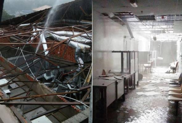 Hujan lebat serta ribut petir pada petang Selasa menyebabkan struktur bumbung di UniKL BMI di Gombak rosak teruk. - Gambar Facebook - Universiti Kuala Lumpur - Officialpage