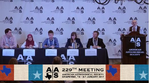 Malaysian astrophysics PhD student, Nur Adlyka Ainul Annuar (second from left) at the press conference at the American Astronomical Society meeting in Grapevine, Texas