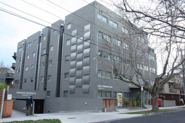 The five-storey Dudley International House building houses 115 Monash University students.